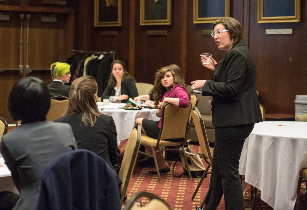 Dr. Lauren Crispin talks during a workshop