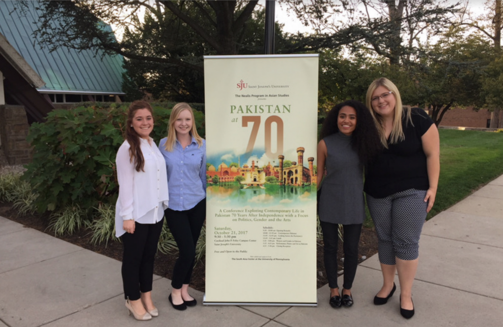 Lauren Preski, Caroline Kelm, Zoe Malone, and Taylor Wallburg at the Pakistan at 70 Conference.